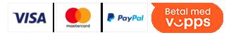 Her kan du trygt betale med: VISA, Mastercard, Vipps og Paypal